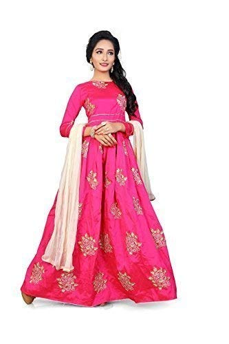 Hirva Collections Women\'s Cotton Silk Gown (Pink,Free Size)
