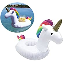 Flotador inflable posavasos en forma de unicornio tamaño gigante para la piscina o playa. Unicornio flotador hinchable posavasos para la piscina o la playa por Integrity co