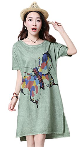 Bigood Femme Robe Chemise Coton Lin Imprimée Papillon Loose Vert