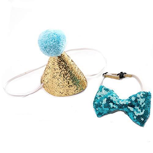 Beegame Novelty Pet Birthday Party Kegelhut und Fliege Halsband Set, verstellbar und Pom-Poms Topper für Kätzchen, Welpen, kleine Hunde und Katzen
