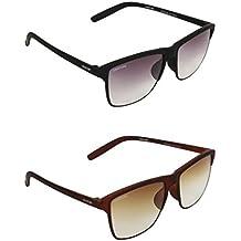 Creature Black and Brown Wayfarer Sunglasses Combo with UV Protection (Lens-Purple & Brown  Frame-Black/Brown  Doit-001-002)