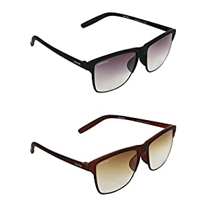 Creature Black and Brown Wayfarer Sunglasses Combo with UV Protection (Lens-Purple & Brown||Frame-Black/Brown||Doit-001-002)