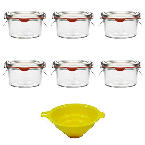 6 Kleine Weckgläser / Rundrandgläser mit Deckel in Sturzform 165 ml inkl. Klammern und Ringen und einem gelben Einfülltrichter mit Arretierung