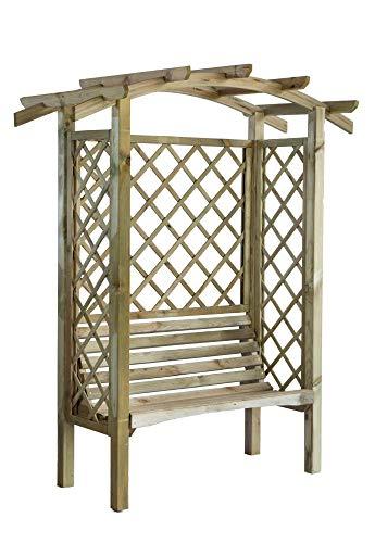 Pergola Linton en bois avec banc pour deux personnes