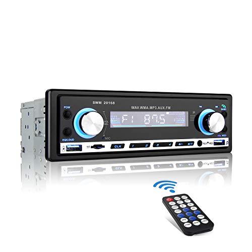 MEKUULA Radio Voiture, 4x60w Autoradio USB Bluetooth 1 Din MP3 Poste de Voiture Main Libre stéréo vidéo FM Radio avec Télécommande/SD/AUX/TF