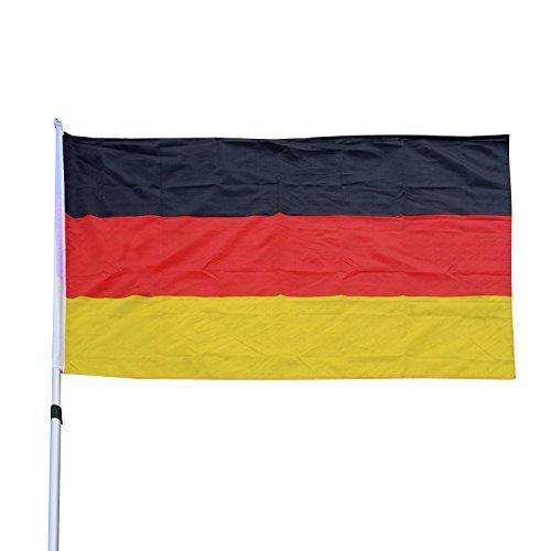 Outsunny® Alu Fahnenmast Flaggenmast Deutschlandfahne Staatsflagge Nationalflagge Fahne L150 x W90cm 6,5/4/2m mit/ohne Mast (L150 x W90cm/ ohne Mast)