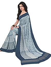 Salwar Studio Women's Ash Grey Crape Silk Self Printed Saree With Blouse Piece-ADAA-6416
