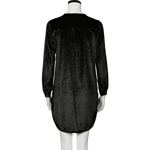 robe femme, Transer ® Fashion femmes manches longues robe T Shirt col v couleur unie Mini robe de velours Noir
