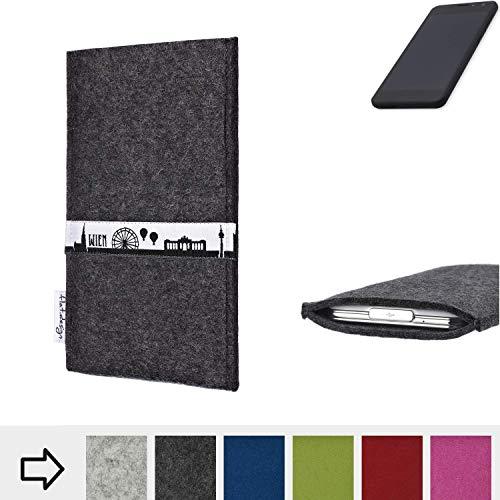 flat.design für Shift Shift5.3 Schutztasche Handy Hülle Skyline mit Webband Wien - Maßanfertigung der Schutzhülle Handy Tasche aus 100% Wollfilz (anthrazit) für Shift Shift5.3