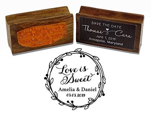 Printtoo Holz Mounted Individuelle Kranz Design Liebe ist süß retten die Stempel Datum Rubber Stamper Personalisierte