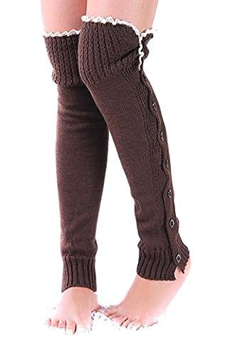 Fletion bottes pour dames chaussettes bottes hiver tricot bouton vers