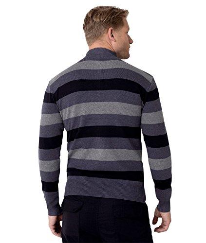 ... KRISP® Herren Pullover Hoher Reißverschluss Kragen Gestreift & Einfarbig  Blau (5278)