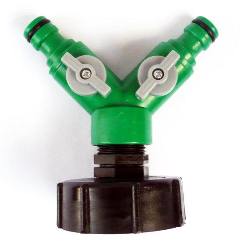 inscale IBC Adaptateur (5,1 cm - S60-60 mm) à double 1/5,1 cm (13 mm) à clipser Push Fit connecteur pour flexible C/w robinets sur/OFF.