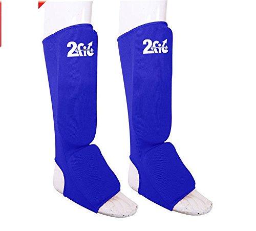 2fit Schienbein Insteps Fußschoner Training Pads Boxen MMA für Muay Thai, S, M, L, XL, blau