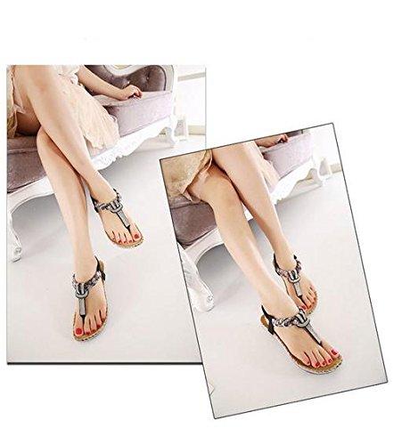 Zicac, sandali infradito da donna estivi, con fiori e strass, stile hippy Black