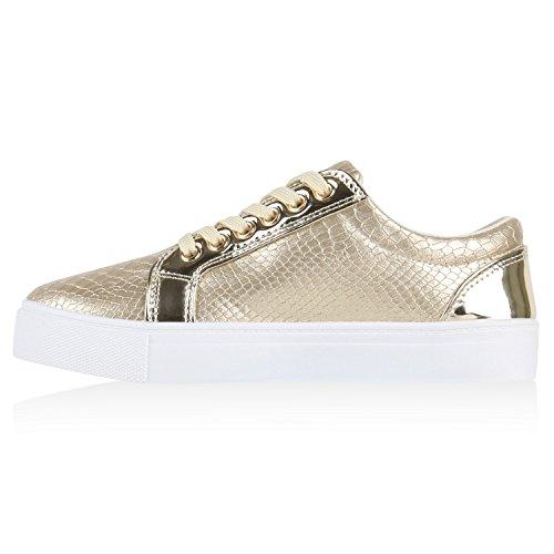 Moderne Damen Sneakers Lack Zipper Sportschuhe Freizeit Schuhe Gold