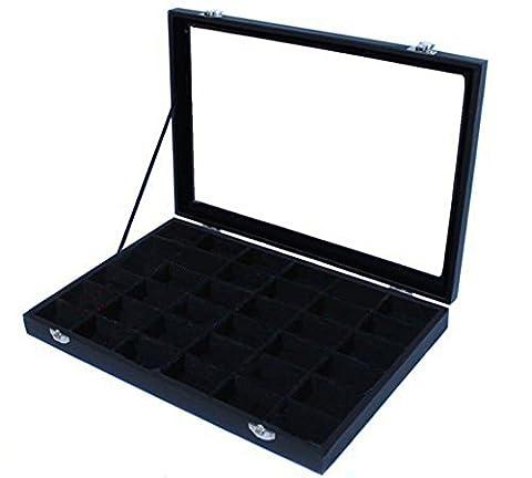 Amzdeal Boîte à bijoux avec 36 compartiments en plastique et acrylique 35.5*24.5*5cm ( noir )