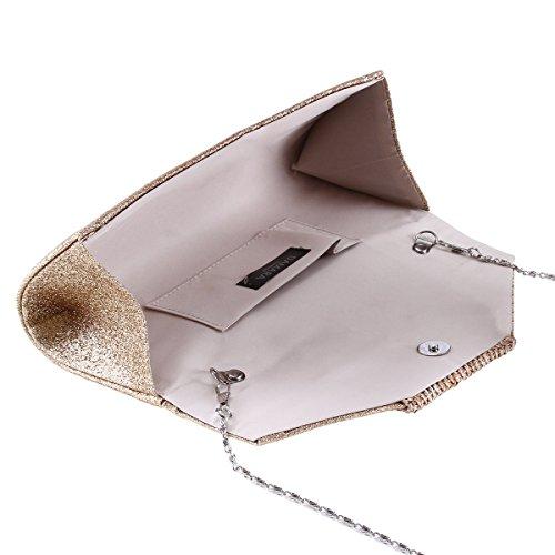 Damara® Glitzer Damen Geflochtenes Design Clutch Große Handtaschen Silber