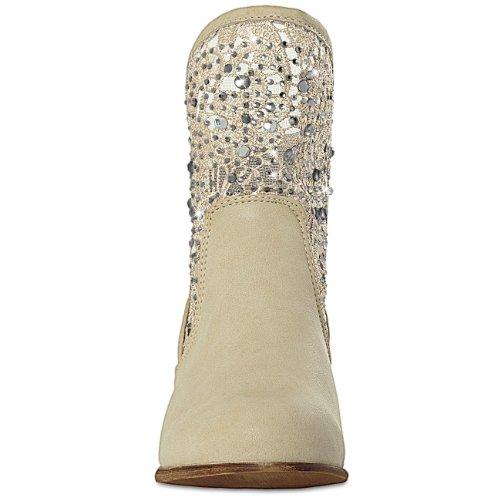 CASPAR - Bottines de cowboy pour femme avec applications de dentelle et strass - plusieurs coloris - SBO022 Beige