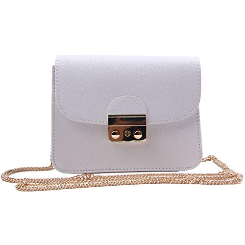 LUI SUI Frauen Mini Handtasche Solid Color PU Leder Clutch Geldbörse Kleine Schulter Crossbody Taschen mit Kettenriemen Weiß - Leder Mini-clutch