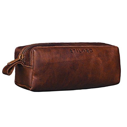 Stilord 'linus' astuccio in pelle grande portapenne portamatite portatrucco vintage per università scuola e ufficio uomo donna, colore:cognac marrone scuro
