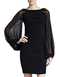 Miusol® Damen Elegant Cocktaikleid Langarm Chiffon Mini kleid Party Abendkleid Schwarz Gr.S-XXL