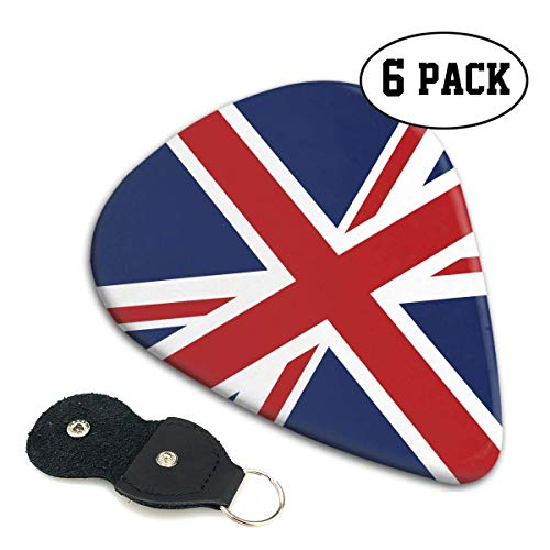 Union Jack Flag 351 Shape Classic Celluloid Guitar Picks for Your Electric,Acoustic,Mandolin,Bass and Ukulele Guitar .71mm 6-Pack