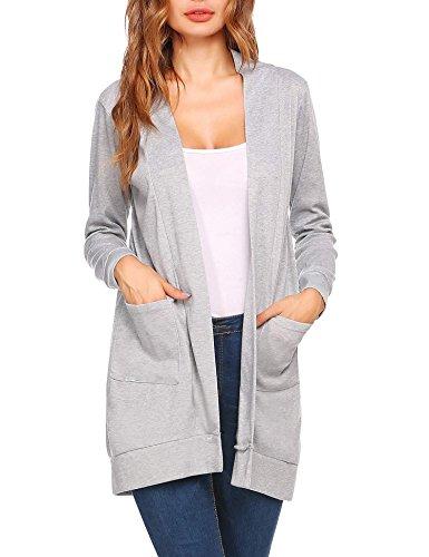 Meaneor Damen Elegant Strickjacke Verschlussloser Cardigan Pocket Strickmantel Long Jersey Jacke...