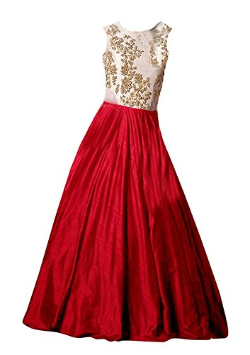 Clickedia Kids Heavy Bhagalpuri Silk Embroidered Red Floor Length Gown - traditional wear ( 8-11 yrs)- Semi-Stitched alterable
