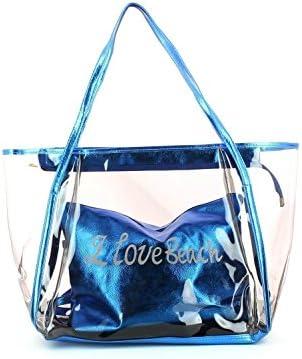Combinación bolsa de playa I Love Beach Negro Transparente + bolsa Interieur extraíble, 8colores para elegir)