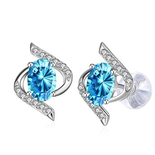 Ohrringe Damen,J.Rosée 925er Sterling Silber Blau Zirkonia Schmuck