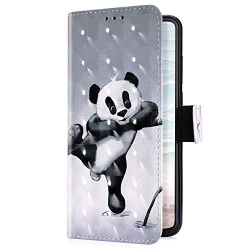 Uposao Kompatibel mit Huawei Honor 8A Handyhülle Luxus Bling Glitzer Bunt Muster Wallet Schutzhülle Leder Hülle Klapphülle Wallet Bookstyle Handy Tasche Magnet Kartenfach,Cute Bär
