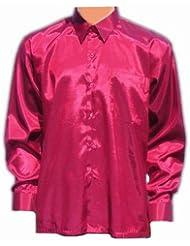 Chemise en soie thaïlandaise hommes à Manche Longue / Bourgogne Taille L