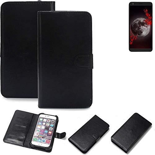 K-S-Trade® Wallet Case Handyhülle Für Sharp Aquos B10 Schutz Hülle Smartphone Flip Cover Flipstyle Tasche Schutzhülle Flipcover Slim Bumper Schwarz, 1x