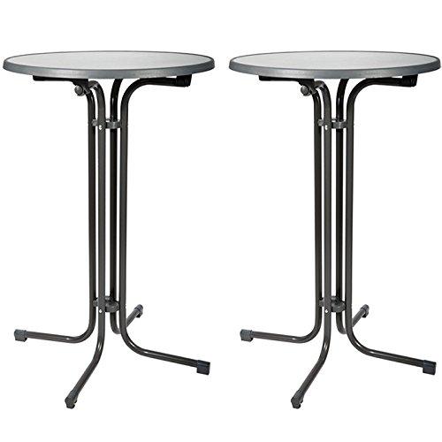 Beautissu Lot de 2 Tables de bistrot pliantes - Mange debout - Ronde - Gris - Ø 70x110cm - pliable - Facile monter et très Stable