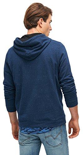 TOM TAILOR DENIM für Männer Sweat gesprenkelter Hoodie mit Print black iris blue