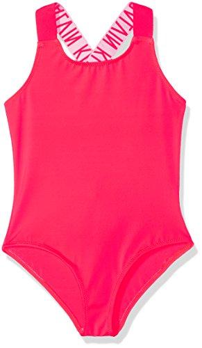 Calvin Klein Mädchen Sport Shirt Intense Power Swimsuit Rosa (Diva Pink 011), 110 (Herstellergröße: 4-5) (Sportswear Klein Calvin)