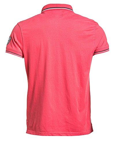 Legenders - Polo gerippte Kragen rosa Mann Pink