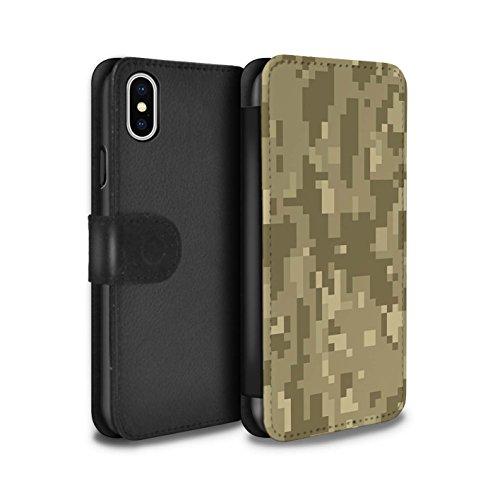 Stuff4® PU-Leder Hülle/Case/Tasche/Cover für Apple iPhone XS/Brauner Cadpat Digital Muster/Militär Camouflage Tarnung Kollektion
