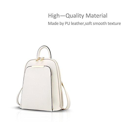 NICOLE&DORIS Neuer Trend Rucksack Umhängetasche Damen / Frauen Dual-Use-College Wind Mode Reisetasche für Studenten(Black) Creamy-white