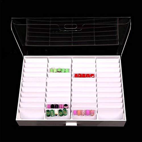 44 Grid Acryl Nagel Aufbewahrungsbox Einstellbar Nails Farbkarten Display Box zur Präsentation und Aufbewahrung von Nailart Strass Piercing Wimpern Schmuck UVM