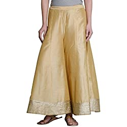 oneOeightdesigns Kalidar Silk Palazzo full length with cotton inner (Free Size 34-38) Color-Golden,Fabric-Silk cotton