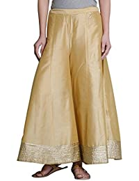 oneOeightdesigns Kalidar Silk Palazzo full length with cotton inner (Free Size 34-38) Color-Golden,Blue,Off White,Magenta,Red,Black,Fabric-Silk cotton