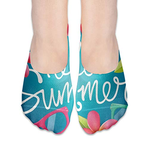 KKAIYA Women & Men Casual Low Cut Boat Sock invisible socks,Funky Illustration Of Summer Images Colorful Sunglasses And Frangipani Buds,Cotton Casual Athletic Socks,Multicolor