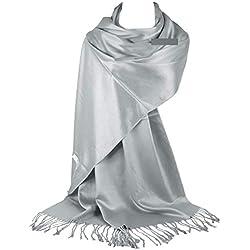 GFM Liso muy suave suave Pashmina Estilo Wrap bufanda (DRV)(L9)(KSHMNA-160-43-Ch)
