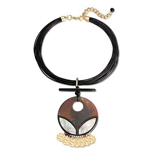 ZZD Runde braune Acryl Halskette mit Fransen, verstellbare Länge, Geschenk für Frau Mutter