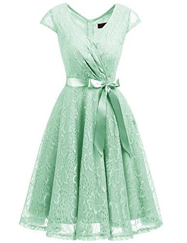Dresstells Elegant Spitzenkleid Knielang V-Ausschnitt Brautjungfernkleid Cocktailkleid Abendkleider Mint XL (Mint Abendkleid)
