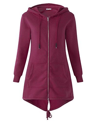 Kidsform Damen Hoodie Langarm Pullover Kapuzenpulli Outwear Kapuzenjacke Sweatshirt Jacken Wein Rot EU 38/Etikettgröße M