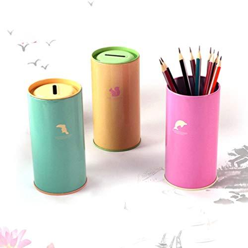 VOSAREA 1pcs Metallzylinder Piggy Bank Cartoon Kreative Geschenkgeber Speichern Pot Dekoration Münzbank -