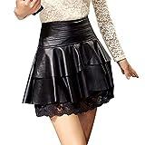 e2119c75faf8 Aelegant Damen Elegant PU Leder Kurz Rock Uniform A-Linie Wetlook  Faltenrock Röcke Hohe Taille Mini Hoserock mit Spitzen Saum